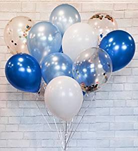 globos de fiesta color azul y blanco