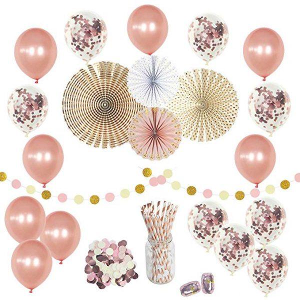 decoracion dorado y rosa baby shower set