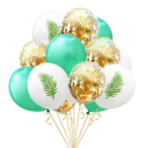 Globos baby shower tematico hawaii y confeti gold