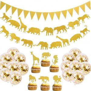 combo decoracion de fiesta jungla y safari dorado globos banner de animales