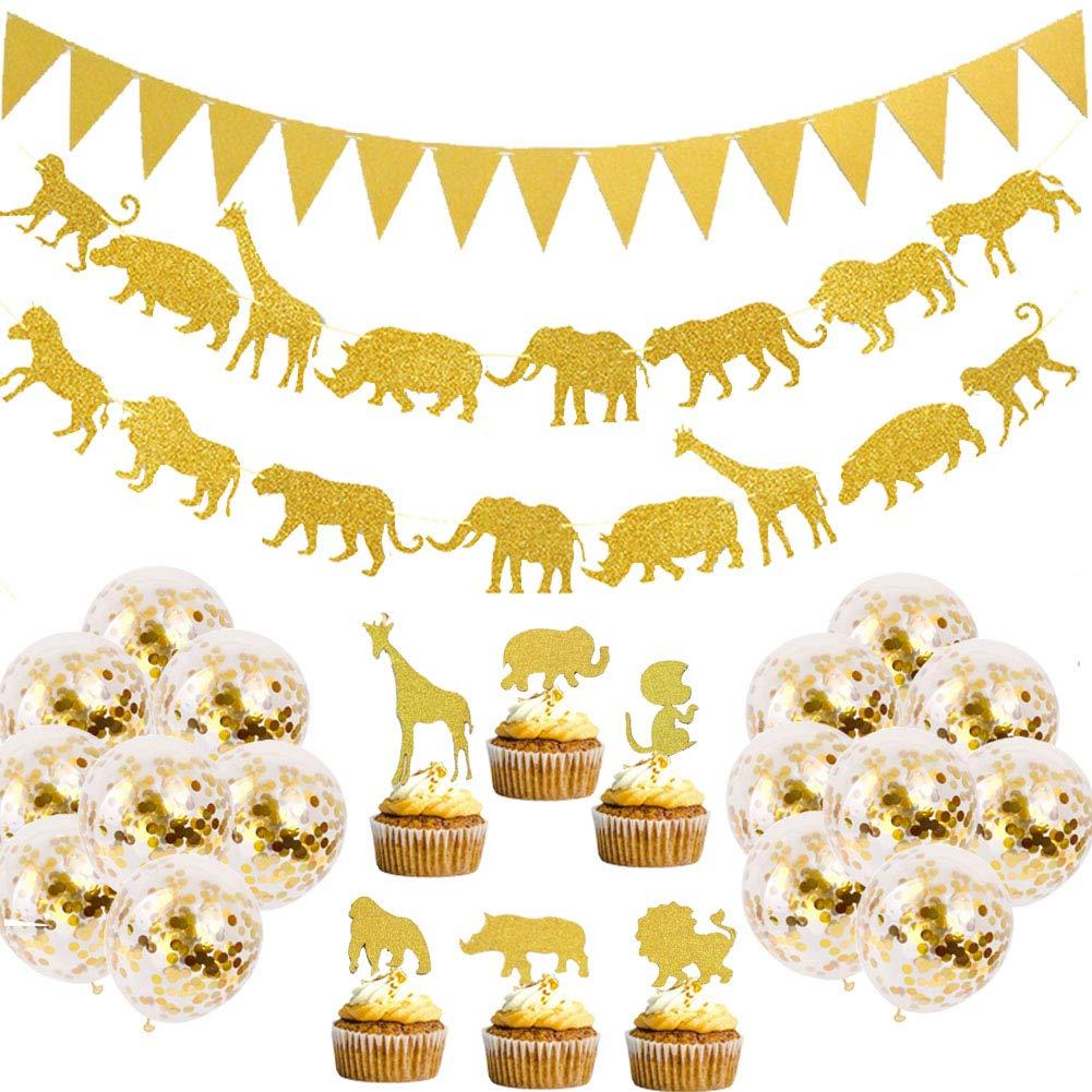 Decoracion De Baby Shower De Animales.Decoracion Para Fiesta Safari Dorado