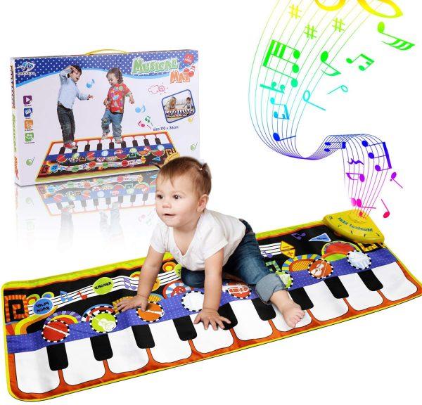 alfombra musical para niños en forma de piano
